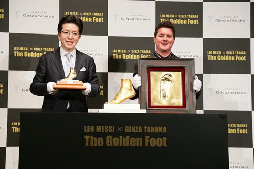 """メッシ""""黄金の左足""""は5億円…実物大純金オブジェを1個限定販売"""