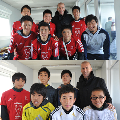 『adidas UEFA YOUNG CHAMPIONS』、ジダン氏が流通経済大柏高とJフィールド岡山の選手を激励