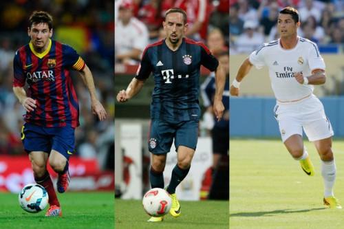 UEFA欧州最優秀選手賞の最終候補はメッシ、リベリー、C・ロナウド