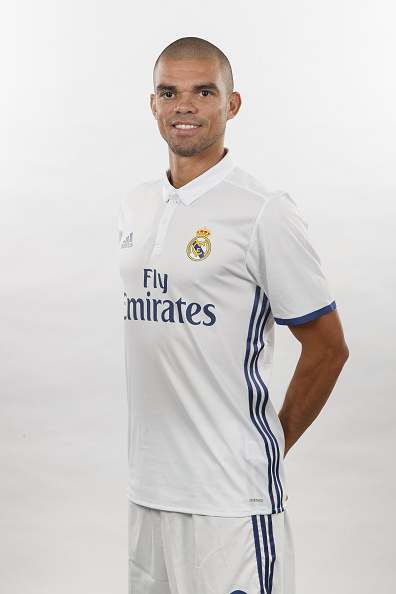 MADRID, SPAIN - AUGUST 18:  Pepe of Real Madrid poses during a portrait session at Valdebebas training ground on August 18, 2016 in Madrid, Spain.  (Photo by Angel Martinez/Real Madrid via Getty Images)