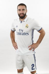 MADRID, SPAIN - AUGUST 18:  Daniel Carvajal of Real Madrid poses during a portrait session at Valdebebas training ground on August 18, 2016 in Madrid, Spain.  (Photo by Angel Martinez/Real Madrid via Getty Images)