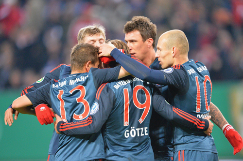 ドイツ杯連覇を狙うバイエルン、5ゴールの大勝でベスト4進出