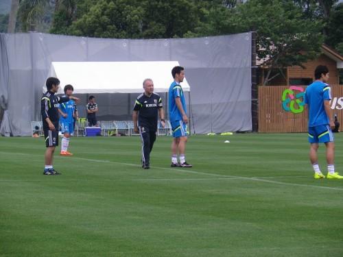W杯に臨む日本代表の合宿2日目、午後練習ではミニゲームを実施