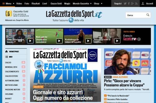 ピンクで有名な伊紙『ガゼッタ』が青色にチェンジ…イタリア代表を応援