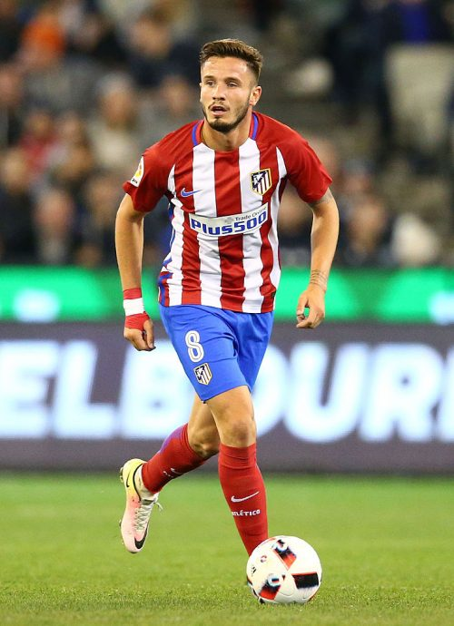 MELBOURNE, AUSTRALIA - JULY 29:  Saul Niguez of Atletico de Madrid competes for the ball during 2016 International Champions Cup Australia match between Tottenham Hotspur and Atletico de Madrid at the Melbourne Cricket Ground on July 29, 2016 in Melbourne, Australia.  (Photo by Scott Barbour/Getty Images)