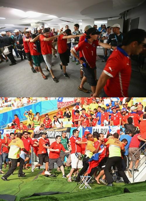 チリのサポーター200名超がスタジアムの報道エリアに侵入、逮捕者も