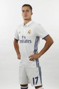 MADRID, SPAIN - AUGUST 18:  Lucas Vazquez of Real Madrid poses during a portrait session at Valdebebas training ground on August 18, 2016 in Madrid, Spain.  (Photo by Angel Martinez/Real Madrid via Getty Images)