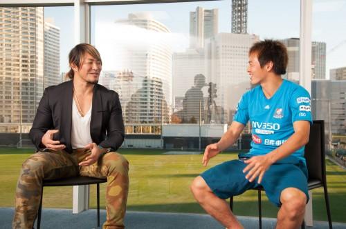 横浜FM齋藤学とプロレスラー棚橋弘至が対談「去年のG1を見てハマりました」