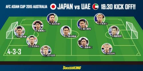 アジア杯準々決勝に臨む日本代表、4試合連続で同スタメン
