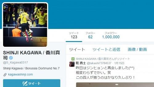 香川、ツイッターフォロワー数が100万人突破…日本人サッカー選手初