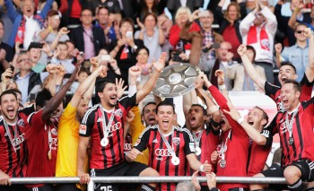 INGOLSTADT, GERMANY - MAY 17:  Mathew Leckie of FC Ingolstadt and team mates celebrate the winning the shield after the 2. Bundesliga match between FC Ingolstadt and RB Leipzig at Audi Sportpark on May 17, 2015 in Ingolstadt, Germany.  (Photo by Adam Pretty/Bongarts/Getty Images)