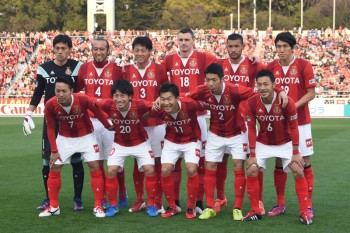 NAGOYA, JAPAN - MARCH 22:  (EDITORIAL USE ONLY) Team Photo of Nagoya Grampus during the J.League match between Nagoya Grampus and Kashima Antlers at Mizuho Stadium  on March 22, 2015 in Nagoya, Aichi, Japan.  (Photo by Kaz Photography/Getty Images)