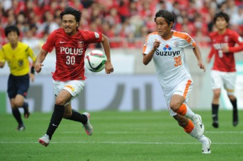 (EDITORIAL USE ONLY) xxx during the J.League match between Urawa Red Diamonds and Shimizu S-Pulse at Saitama Stadium on June 7, 2015 in Saitama, Japan.