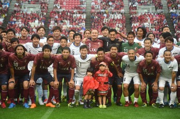 KASHIMA, JAPAN - JULY 05:  Kazuyoshi Miura ,Shinji Ono and other star players come for the  retirement game of  Koji Nakata, Atsushi Yanagisawa and Toru Araiba during  the J. League 2015 retirement game at Kashima Stadium on July 5, 2015 in Kashima, Japan.  (Photo by Kaz Photography/Getty Images)
