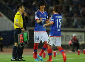 (EDITORIAL USE ONLY) xxx during the J.League match between Yokohama F.Marinos and Sanfrecce Hiroshima at Nissan Stadium on April 29, 2015 in Yokohama, Kanagawa, Japan.