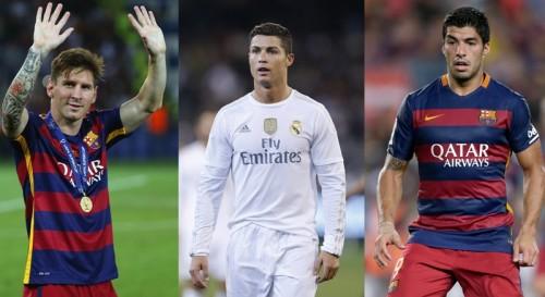 欧州最優秀選手賞、最終候補3名はメッシ、C・ロナウド、スアレス