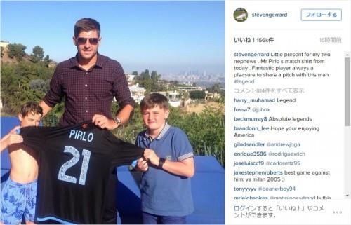 ジェラードがピルロの着用ユニを甥にプレゼント「贈り物ができた」