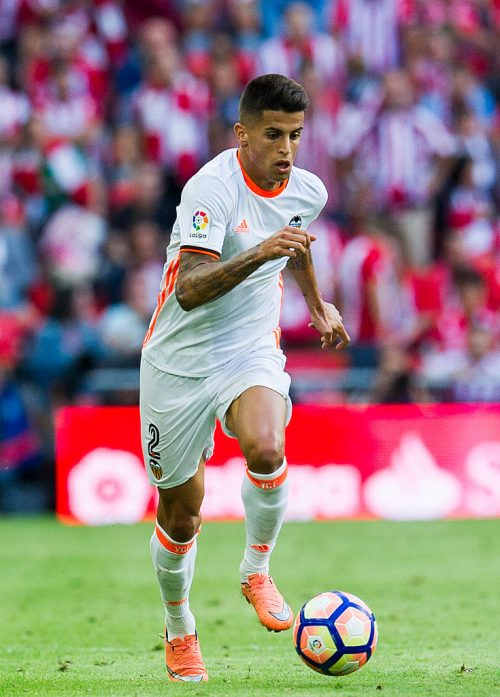 BILBAO, SPAIN - SEPTEMBER 18: Joao Cancelo of Valencia CF controls the ball during the La Liga match between Athletic Club Bilbao and Valencia CF at San Mames Stadium on September 18, 2016 in Bilbao, Spain.  (Photo by Juan Manuel Serrano Arce/Getty Images)