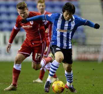 during the Sky Bet Championship match between Wigan Athletic and Cardiff City at DW Stadium on February 24, 2015 in Wigan, England.