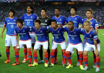 YOKOHAMA, JAPAN - JULY 11:  (EDITORIAL USE ONLY) Yokohama F.Marinos players line up for the team photos prior to the J.League match between Yokohama F.Marinos and Montedio Yamagata at Nissan Stadium on July 11, 2015 in Yokohama, Kanagawa, Japan.  (Photo by Etsuo Hara/Getty Images)