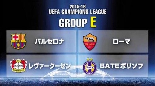 <2015-16>CL・グループE(バルセロナ、レヴァークーゼン、ローマ、BATEボリソフ)チーム基本データ