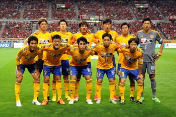 SAITAMA, JAPAN - AUGUST 22:  (EDITORIAL USE ONLY) Vegalta Sendai players line up for the team photos prior to the J.League match between Urawa Red Diamonds and Vegalta Sendai at Saitama Stadium on August 22, 2015 in Saitama, Japan.  (Photo by Hiroki Watanabe/Getty Images)