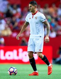 """SEVILLE, SPAIN - AUGUST 20:  Victor Machin Perez """"Vitolo"""" of Sevilla FC looks on during the match between Sevilla FC vs RCD Espanyol as part of La Liga at Estadio Ramon Sanchez Pizjuan on August 20, 2016 in Seville, Spain.  (Photo by Aitor Alcalde/Getty Images)"""