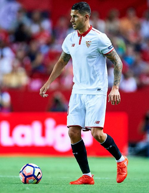 "SEVILLE, SPAIN - AUGUST 20:  Victor Machin Perez ""Vitolo"" of Sevilla FC looks on during the match between Sevilla FC vs RCD Espanyol as part of La Liga at Estadio Ramon Sanchez Pizjuan on August 20, 2016 in Seville, Spain.  (Photo by Aitor Alcalde/Getty Images)"