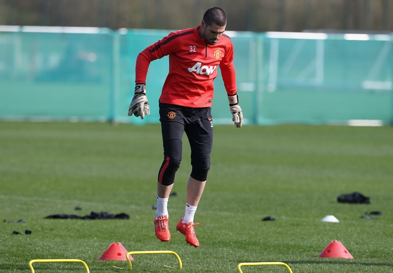 MANCHESTER, ENGLAND - APRIL 10:  (EXCLUSIVE COVERAGE) Victor Valdes of Manchester United in action during a first team training session at Aon Training Complex on April 10, 2015 in Manchester, England.  (Photo by John Peters/Man Utd via Getty Images)