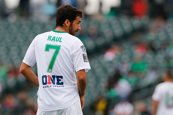 NEW YORK, NY - NOVEMBER 07: Raul #7 of the New York Cosmos looks on during the game against Fort Lauderdale Strikers during the Championship Semifinal Match at MCU Park on November 7, 2015 in Brooklyn borough of New York City.  (Photo by Mike Stobe/New York Cosmos/Getty Images)
