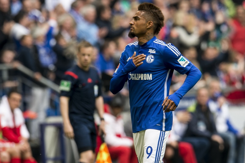 Kevin-Prince Boateng of Schalke 04 celebrate his goal during the Bundesliga match between Schalke 04 and VfB Stuttgart on May 2, 2015 at the Veltins Arena in Gelsenkirchen, Germany.(Photo by VI Images via Getty Images)