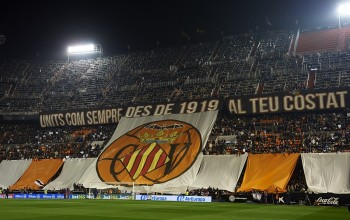 VALENCIA, SPAIN - DECEMBER 05:  A Tifo banner hangs in the stands prior to the La Liga match between Valencia CF and FC Barcelona at Estadi de Mestalla on December 05, 2015 in Valencia, Spain.  (Photo by Manuel Queimadelos Alonso/Getty Images)