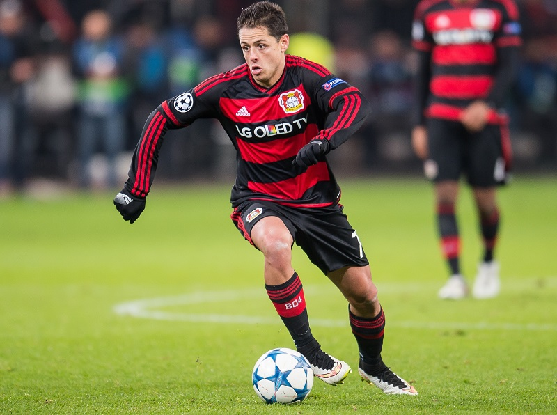 Javier Hernandez ( Chicharito ) of Bayer 04 Leverkusen during the UEFA Champions League match between Bayer 04 Leverkusen and FC Barcelona on December 9, 2015 at the BayArena in Leverkusen, Germany.(Photo by VI Images via Getty Images)
