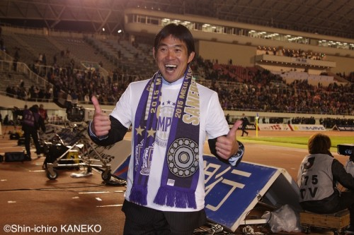 就任以降3度目のJ1優勝を導いた広島・森保監督「チーム一丸の勝利」