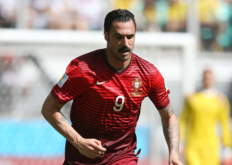 SALVADOR, BRAZIL - JUNE 16: Hugo Almeida of Portugal in action during the 2014 FIFA World Cup Brazil Group G match between Germany and Portugal at Arena Fonte Nova on June 16, 2014 in Salvador, Brazil. (Photo by Jean Catuffe/Getty Images)