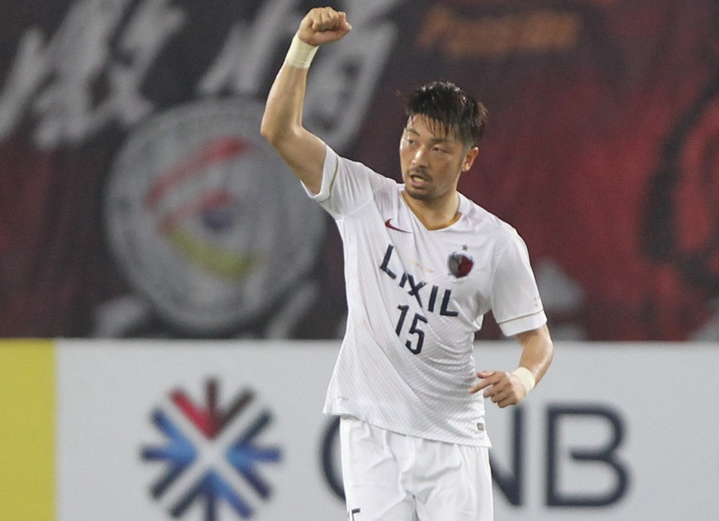 GUANGZHOU, CHINA - MARCH 18: Hiroyuki Takasaki of Kashima Antlers celebrates his goal during the AFC Asian Champions League Group H match between Guangzhou Evergrande and Kashima Antlers at Tianhe Sports Center on March 18, 2015 in Guangzhou, China. (Photo by Zhong Zhi/Getty Images)