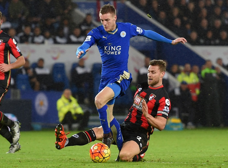 during the Barclays Premier League match between Leicester City and Bournemouth at The King Power Stadium on January 2, 2016 in Leicester, England.