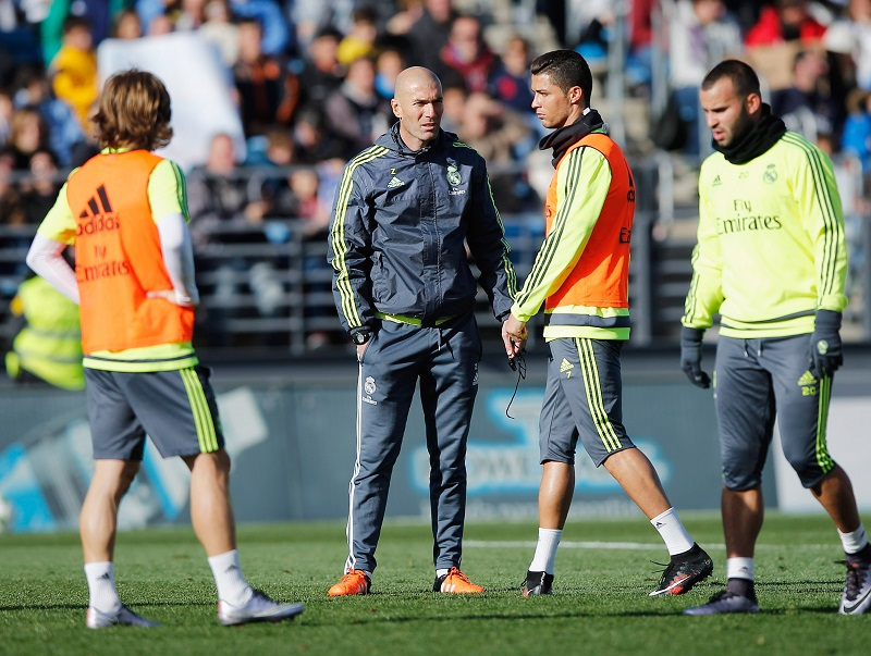 during a Real Madrid training session at Valdebebas training ground on January 5, 2016 in Madrid, Spain.
