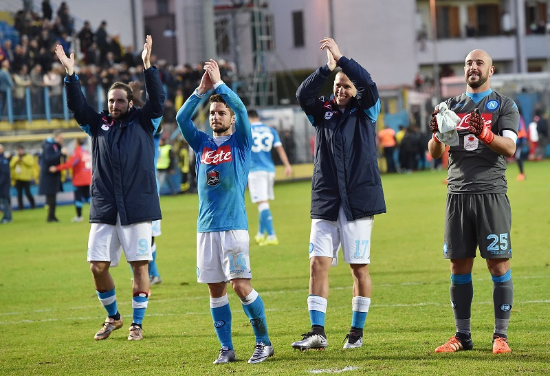 during the Serie A match between Frosinone Calcio and SSC Napoli at Stadio Matusa on January 10, 2016 in Frosinone, Italy.