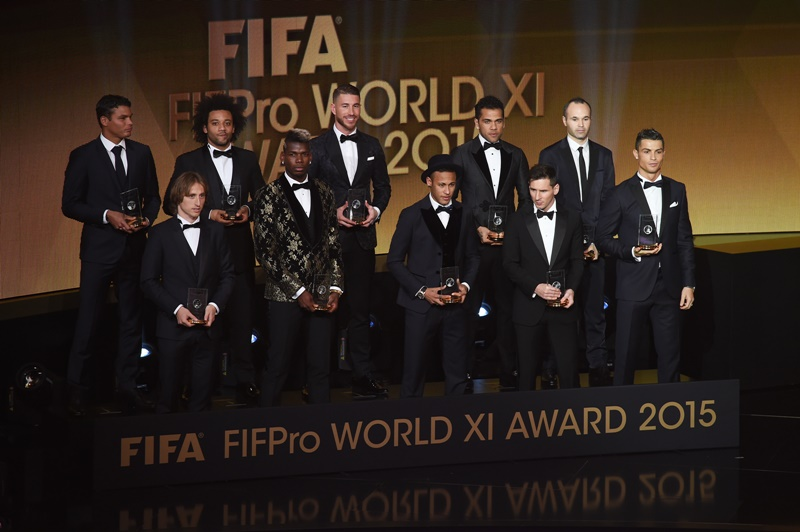 ZURICH, SWITZERLAND - JANUARY 11:  The FIFA FIFPro World XI assembles on stage during the FIFA Ballon d'Or Gala 2015 at the Kongresshaus on January 11, 2016 in Zurich, Switzerland.  (Photo by Matthias Hangst/Getty Images)
