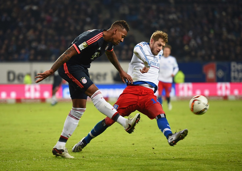 during the Bundesliga match between Hamburger SV and FC Bayern Muenchen at Volksparkstadion on January 22, 2016 in Hamburg, Germany.