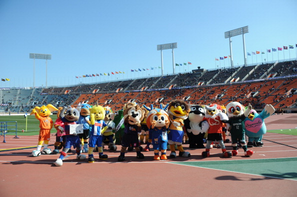 TOKYO, JAPAN - FEBRUARY 22:  (EDITORIAL USE ONLY) Mascots of J.League's team pose for a photograph before the match between Sanfrecce Hiroshima and Yokohama F.Marinos at the FUJI XEROX SUPER CUP at National Stadium on February 22, 2014 in Tokyo, Japan.  (Photo by Masashi Hara/Getty Images)