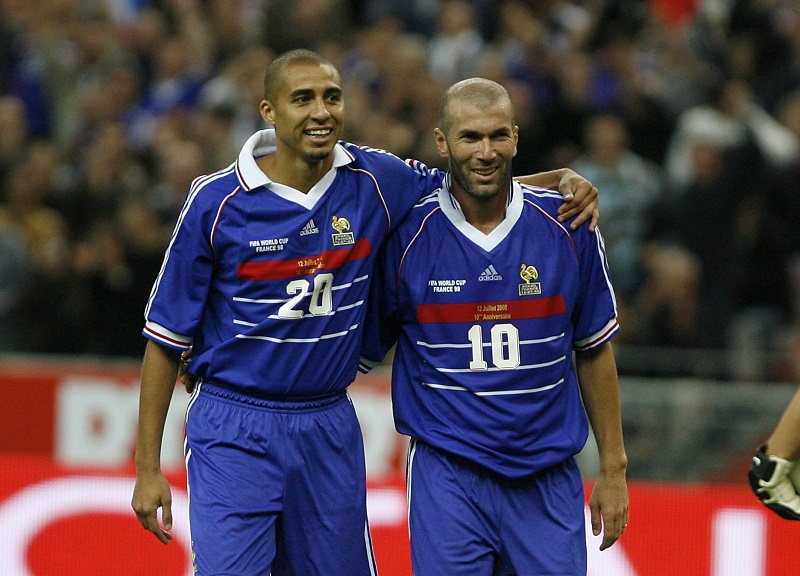 FRANCE - JULY 12:  10Th Anniversary Of France S World Cup Victory, Football Exhibition Match At The Stade De France In Paris, France On July 12, 2008 - Zinedine Zidane, David Trezeguet.  (Photo by Pool BENAINOUS/HOUNSFIELD/Gamma-Rapho via Getty Images)