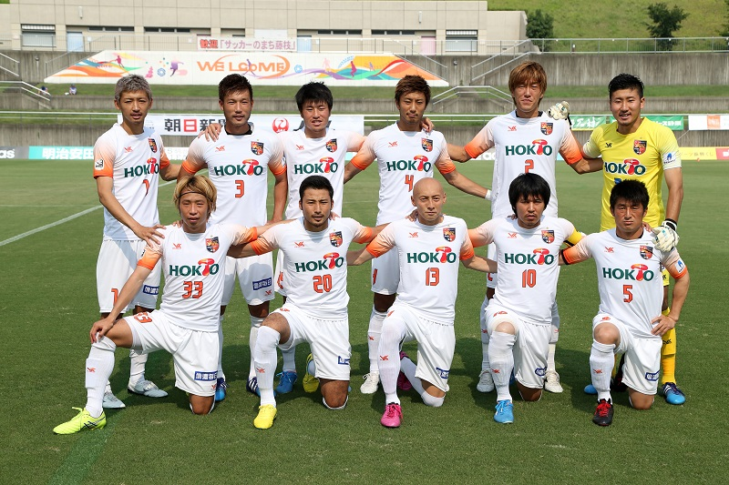 FUJIEDA, JAPAN - AUGUST 02: (EDITORIAL USE ONLY) AC Nagano Parceiro players line up for the team photos prior to the J.League third division match between Fujieda MYFC and AC Nagano Parceiro at Fujieda Stadium on August 02, 2015 in Fujieda, Shizuoka, Japan. (Photo by Kaz Photography/Getty Images)