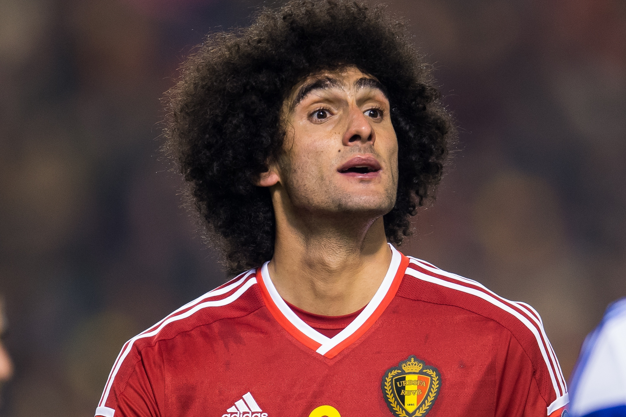 Marouane Fellaini of Belgium during the UEFA EURO 2016 group B qualifying match between Belgium and Israel on October 13, 2015 at the Koning Boudewijn stadium in Brussels, Belgium.(Photo by VI Images via Getty Images)