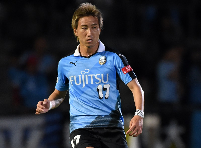 KAWASAKI, JAPAN - OCTOBER 14:  (EDITORIAL USE ONLY) Yuto Takeoka of Kawasaki Frontale in action during Emperor's Cup third round match between Kawasaki Frontale and Kyoto Sanga on October 14, 2015 in Kawasaki, Kanagawa, Japan.  (Photo by Etsuo Hara/Getty Images)