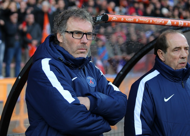 LORIENT, FRANCE - NOVEMBER 21: Coach of PSG Laurent Blanc and his assistant-coach Jean-Louis Gasset look on during the French Ligue 1 match between FC Lorient and Paris Saint-Germain (PSG) at Stade du Moustoir on November 21, 2015 in Lorient, France. (Photo by Jean Catuffe/Getty Images)