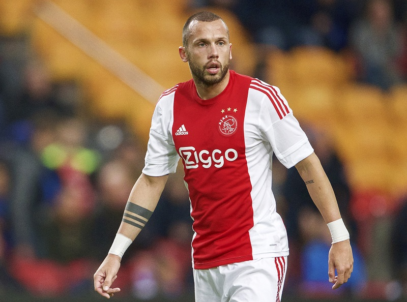 John Heitinga of Ajax during the Dutch Eredivisie match between Ajax Amsterdam and SC Cambuur Leeuwarden at the Amsterdam Arena on November 21, 2015 in Amsterdam, The Netherlands(Photo by VI Images via Getty Images)
