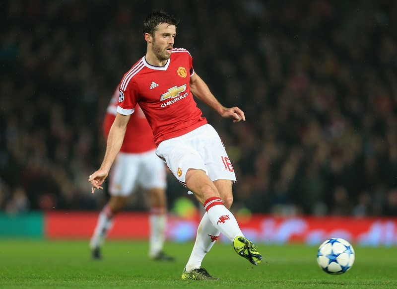 MANCHESTER, ENGLAND - NOVEMBER 03: Michael Carrick of Man Utd in action during the UEFA Champions League Group B match between Manchester United and CSKA Moscow at Old Trafford on November 03, 2015 in Manchester, England. (Photo by Simon Stacpoole/Mark Leech Sports Photography/Getty Images)
