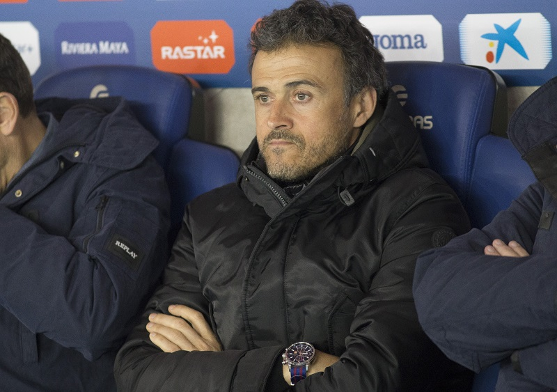 BARCELONA, SPAIN - JANUARY 13. Barcelona's coach Luis Enrique Martinez is seen prior the Spanish Copa del Rey (King's Cup) secound round of 16 first leg football match FC Barcelona vs RCD Espanyol at the RCD Espanyol Stadium in Cornella de Llobregat on January 13, 2016. (Photo by Albert Llop/Anadolu Agency/Getty Images)